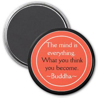 Buddha-Zitat-Schwarz-orange inspirierend Runder Magnet 7,6 Cm