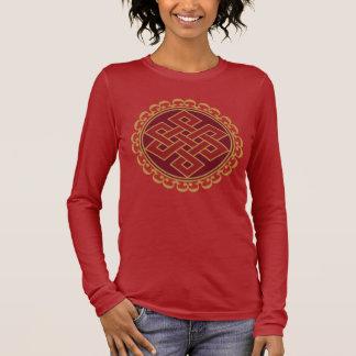 Buddhistisches endloses oder ewiges Knoten-Muster Langarm T-Shirt