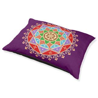 Buddhistisches Mandala-Muster mit Dharma Rad Haustierbett