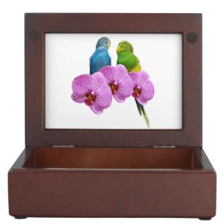 Budgie mit lila Orchidee Erinnerungsdose