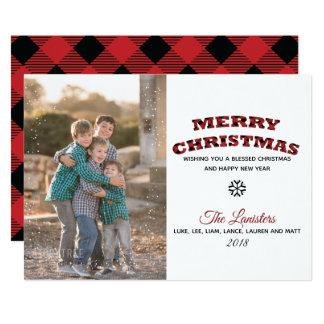 Büffel der frohe Weihnacht-Schnee-Karten-| kariert Karte