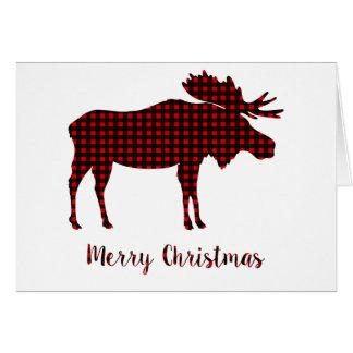 Büffel-karierte Ren-frohe Weihnacht-Typografie Karte
