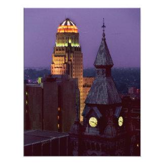 Büffel, New- YorkLandkreis und Rathaus-Gebäude Fotodrucke