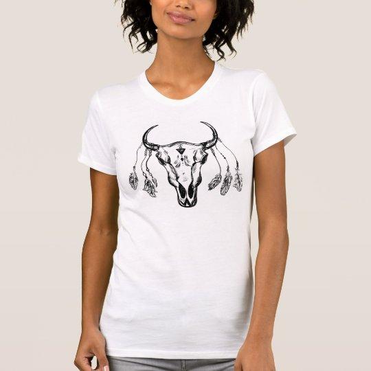 Büffel-Schädel mit Federn T-Shirt