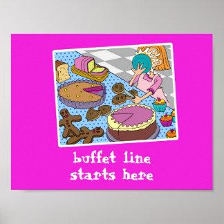 Buffetlinie Anfänge hier unterzeichnen Poster
