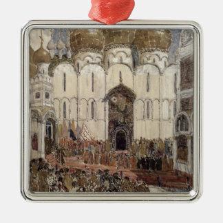 Bühneentwurf für Boris Godunow Quadratisches Silberfarbenes Ornament