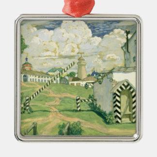 Bühneentwurf für Spiel Alexanders Ostrovskys Quadratisches Silberfarbenes Ornament