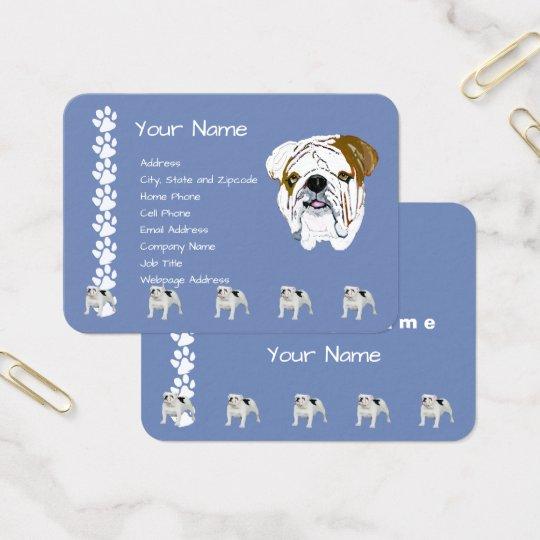Bulldogge auf Land-Blau mit Pawprints Visitenkarte