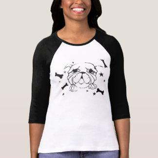 Bulldoggen-Druck-T - Shirt