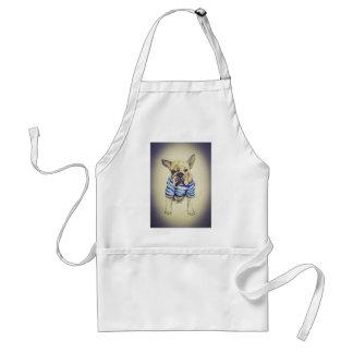 Bulldoggen-Porträt im lila Dunst Schürze