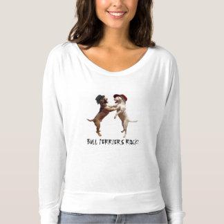 Bullterrier-Felsen! Langes Hülsen-T-Stück T-shirt