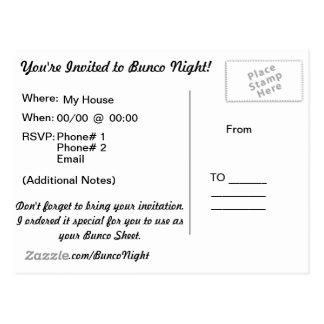 Bunco Postkarten-Einladung Postkarte