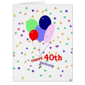 Bunte 40. Geburtstags-Ballone Karte