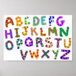 Bunte ABC-Polka-Punkte, die für Kinderraum Poster