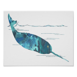 Bunte abstrakte narwhal Silhouette Poster