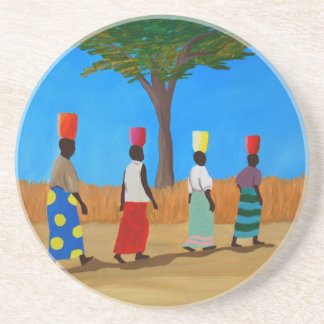 Bunte afrikanische Frauen, die Eimer tragen Sandstein Untersetzer