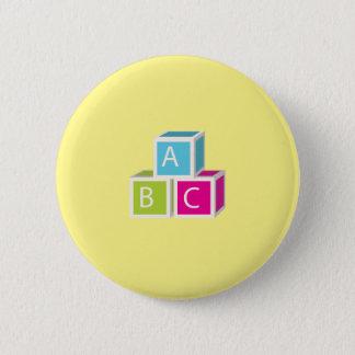 Bunte Alphabetblöcke Runder Button 5,7 Cm