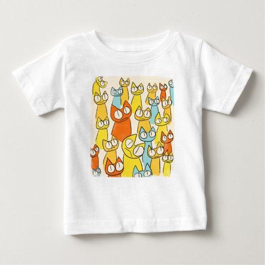Bunte Anstarrenlos Katzen Baby T-shirt