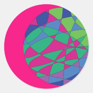 Bunte Aufkleber-runde Magenta färbt Kunst Runder Aufkleber