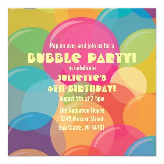 Bunte Blasen-Party-Geburtstags-Einladung Karte