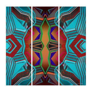 Bunte Blues-Rot-orange grünes rosa geometrisches Triptychon