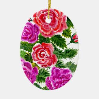 Bunte Blumen 4 Keramik Ornament