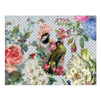 Bunte Blumen des Vintagen Polkapunkt-Vogels Postkarte