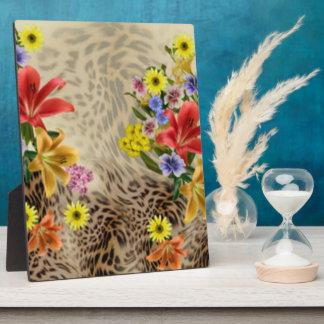 Bunte Blumen u. Leopard-Druck Fotoplatte