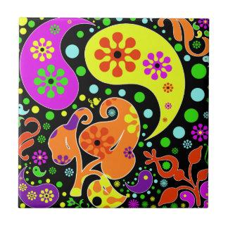 Bunte Blumen und Paisley-Muster Retro Trivet Kleine Quadratische Fliese