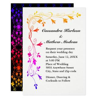 Bunte Blumenreben mit Foto-Hochzeit laden ein 12,7 X 17,8 Cm Einladungskarte