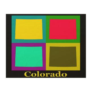 Bunte Colorado-Staats-Pop-Kunst-Karte Holzdruck