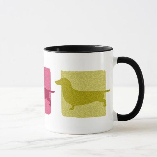 Bunte Dackel-Silhouette-Tasse Tasse