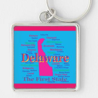 Bunte Delaware-Staatsstolz-Karten-Silhouette Schlüsselanhänger