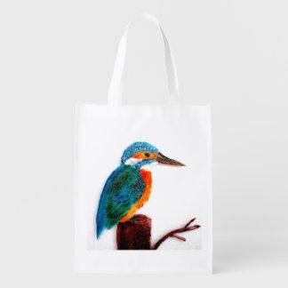 Bunte Eisvogel-Vogel-Kunst Wiederverwendbare Einkaufstasche