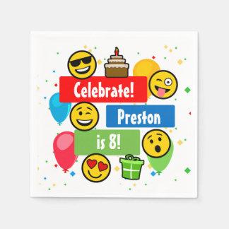Bunte Emoji Geburtstags-Party-Kinder oder Jungen Serviette