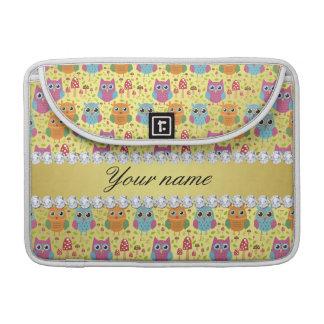 Bunte Eulen-Imitat-Goldfolie Bling Diamanten MacBook Pro Sleeve