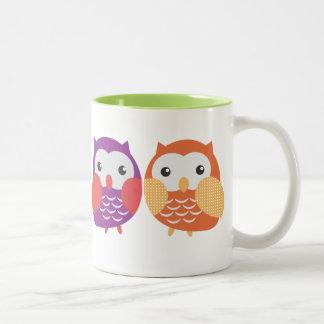 Bunte Eulen-Tasse Zweifarbige Tasse