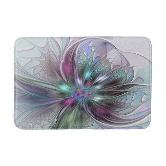 Bunte Fantasie-abstrakte moderne Fraktal-Blume Badematte