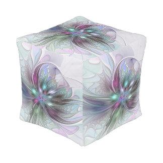 Bunte Fantasie-abstrakte moderne Fraktal-Blume Hocker