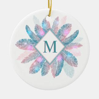 Bunte Feder-Rahmen-Monogramm-Verzierung Keramik Ornament