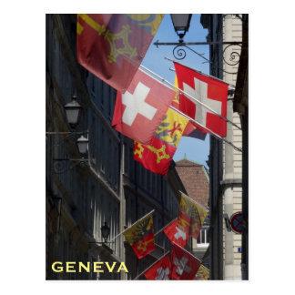 Bunte Flaggen in Genf, die Schweiz Postkarte