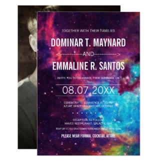 Bunte Foto-Galaxie-Hochzeits-Einladung 12,7 X 17,8 Cm Einladungskarte