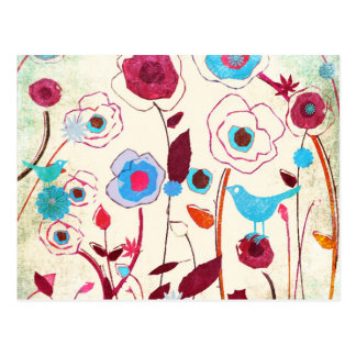 Bunte Frühlings-Blumen-Vogel-Maulbeerblaue Orange Postkarte