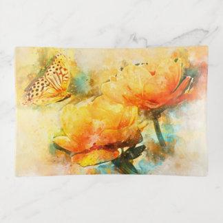 Bunte gelbe Frühlings-Blumen und Schmetterling Dekoschale