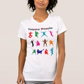 Bunte glückliche lustige Leute des Spaßes T-Shirt