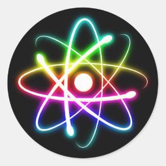Bunte glühende Aussenseiter-Geschenke des Atom-| Runder Aufkleber