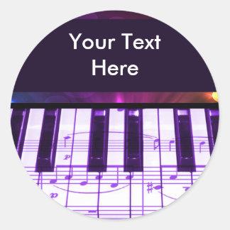 Bunte großartiges Klavier-Tastatur und Musiknoten Runder Sticker
