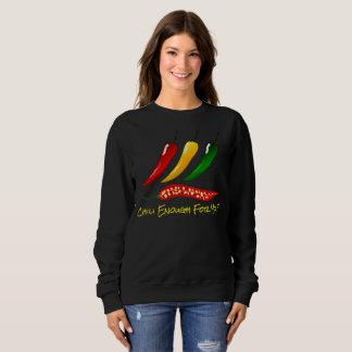 """Bunte heiße Paprikaschoten u. """"Chili genug für Sweatshirt"""