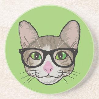 Bunte Hipster-Katze Sandstein Untersetzer