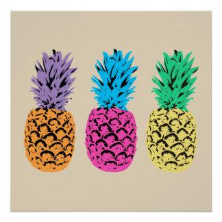 Bunte illustrierte Ananas Poster